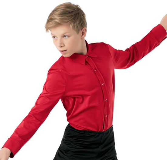 Male Dance Shirt - Red Male costume for hire