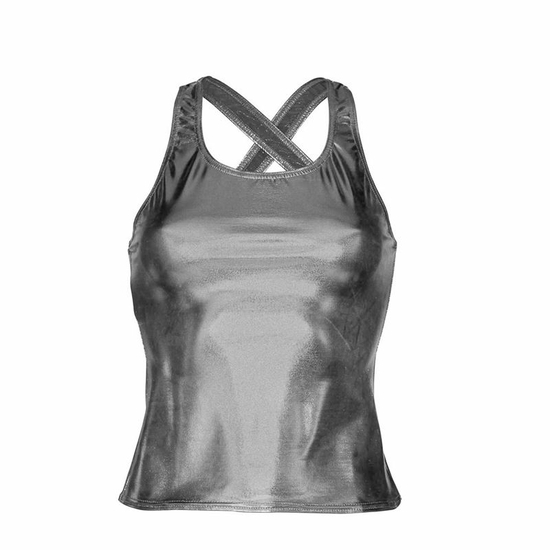 Metallic Silver Vest Top Modern and Tap costume for hire