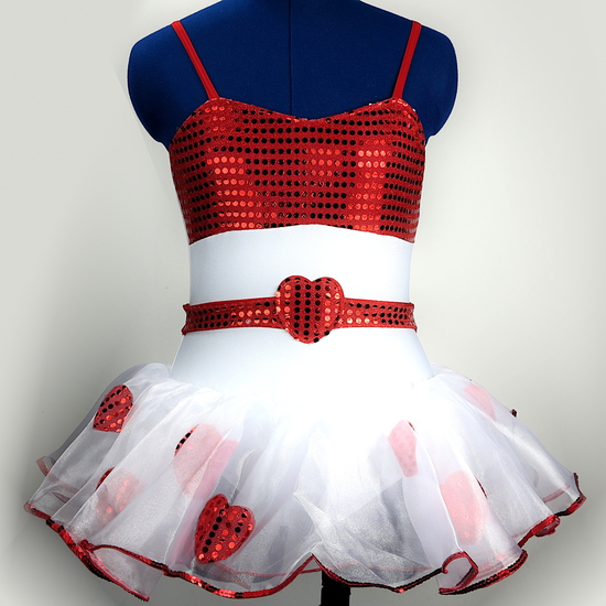 Red Heart Tutu Ballet costume for hire