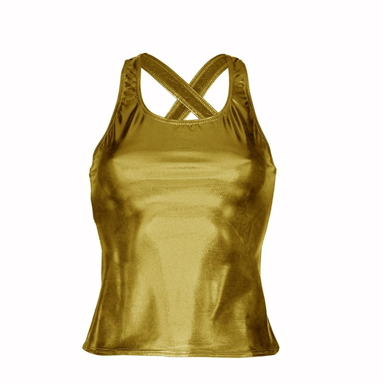 Metallic Gold Vest Top Modern and Tap costume for hire