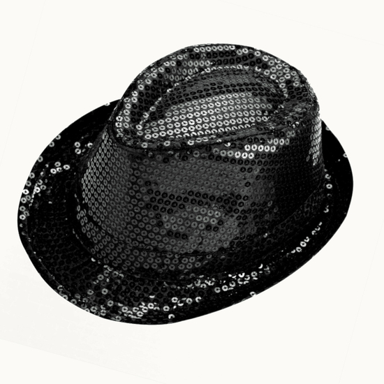 Sequin Trilby Hat - Black Black costume for hire