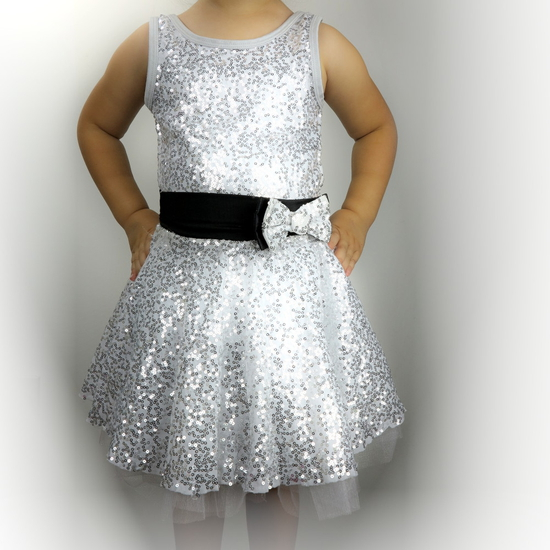 Silver Sequin Dress Modern and Tap costume for hire