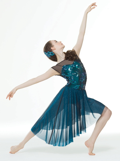 Turquoise Sparkle Lyrical costume for hire