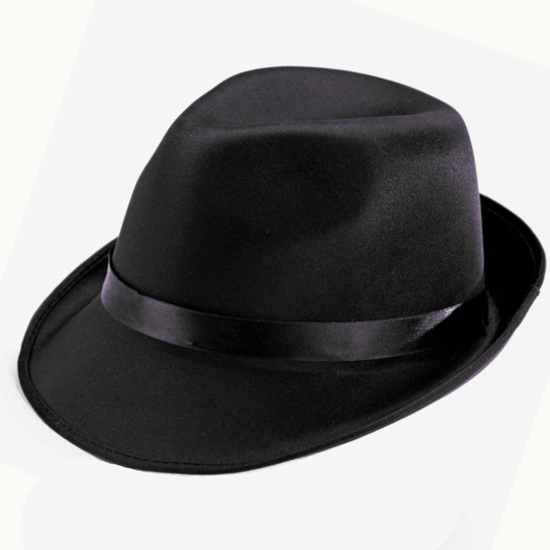 Trilby Hat - Black Black costume for hire
