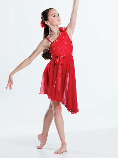 Red Asymmetric Dress Ballet costume for hire