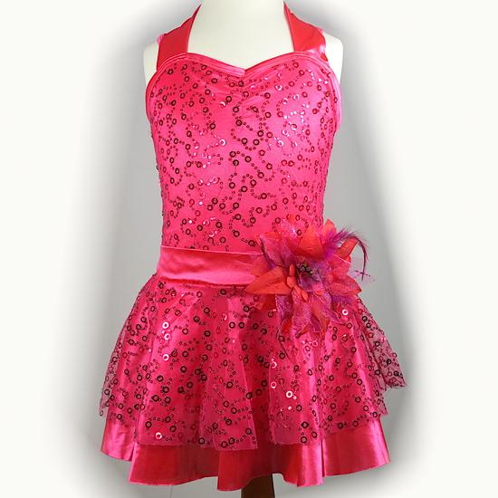 Pink Halterneck Dress Modern and Tap costume for hire