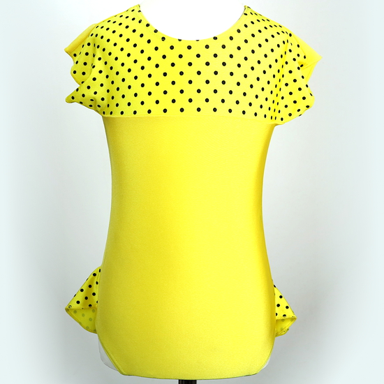 Spotty Yellow Leotard Ballet costume for hire