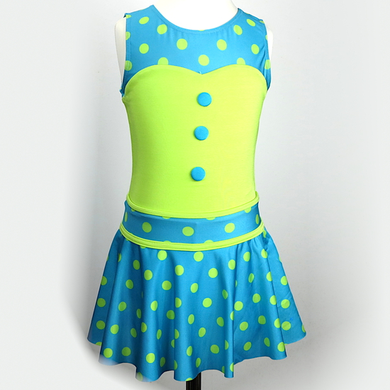 Blue and Green Polkadot Modern and Tap costume for hire
