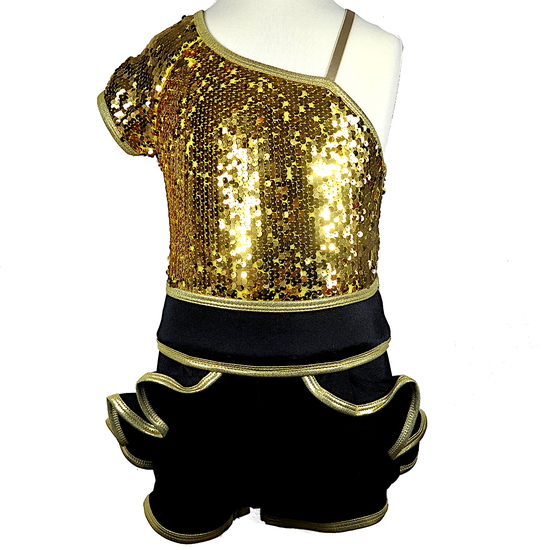 Black and Gold Unitard Modern and Tap costume for hire