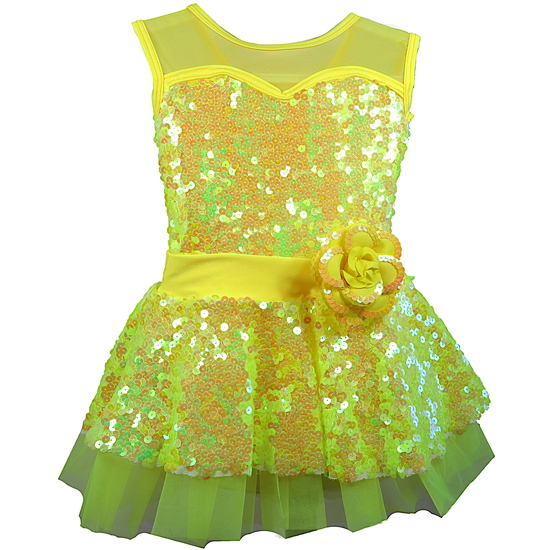 Yellow Sequin Dress Ballet costume for hire