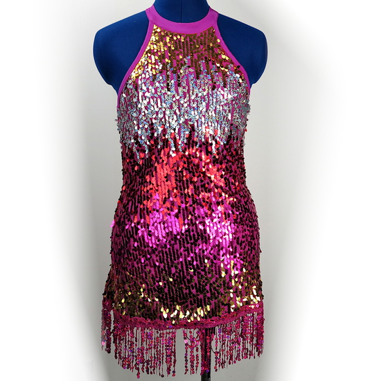 Magenta Sparkle Flapper Modern and Tap costume for hire