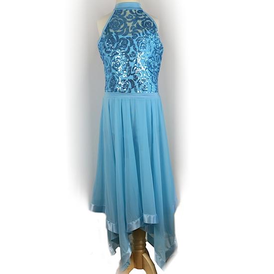 Blue Halterneck Lyrical Dress Lyrical costume for hire