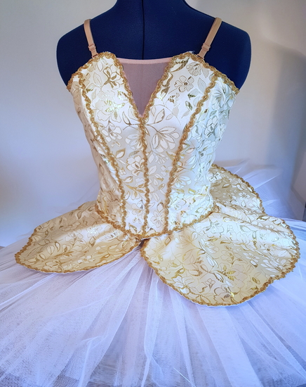 Gold and White Tutu Ballet costume for hire