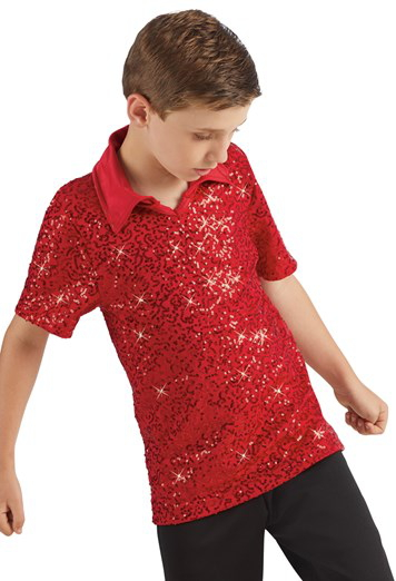 Male Sequin Dance Shirt - Red Male costume for hire