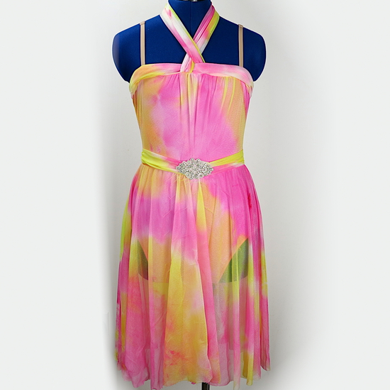 Pink tie-dye lyrical dress Lyrical costume for hire