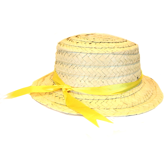 Boater Hat Yellow and Gold costume for hire