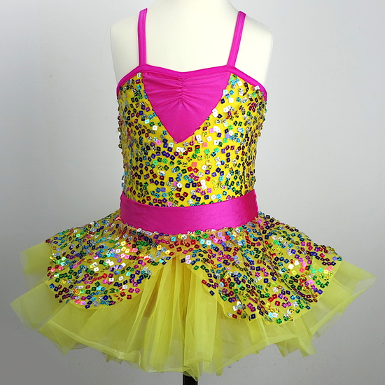 Yellow and Pink Sequin Ballet costume for hire