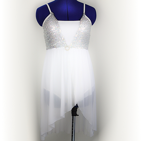 White Sequin Lyrical Lyrical costume for hire