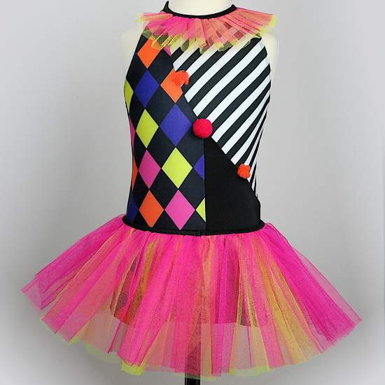 Harlequin Clown Modern and Tap costume for hire