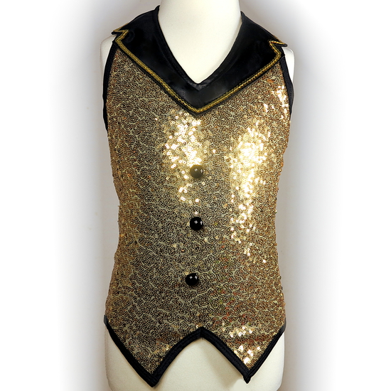 Gold Sparkle Waistcoat Modern and Tap costume for hire