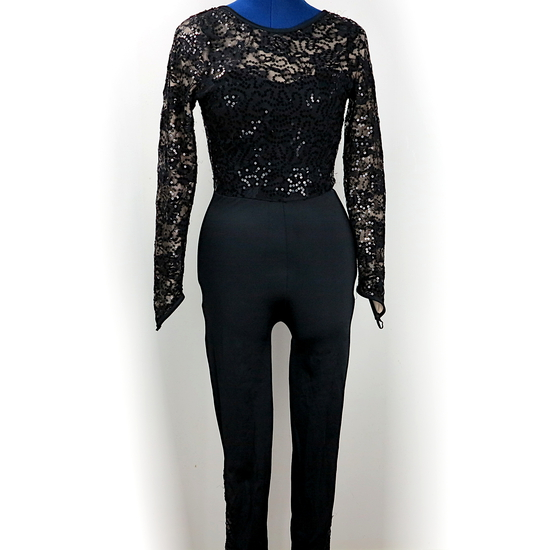 Black Lace Catsuit Modern and Tap costume for hire