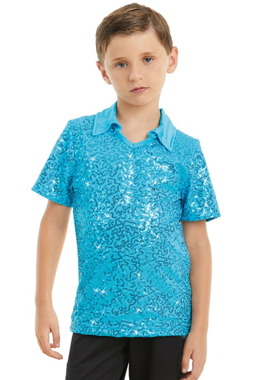 Male Sequin Dance Shirt - Turquoise Male costume for hire