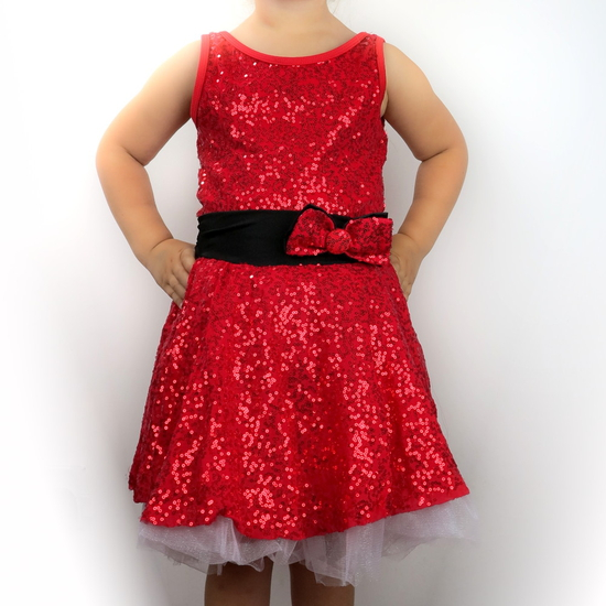 Red Sequin Dress Modern and Tap costume for hire