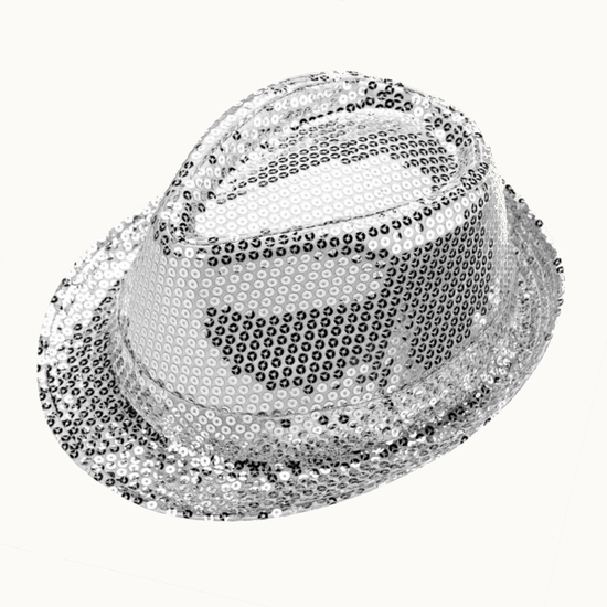 Sequin Trilby Hat - Silver White and Silver costume for hire